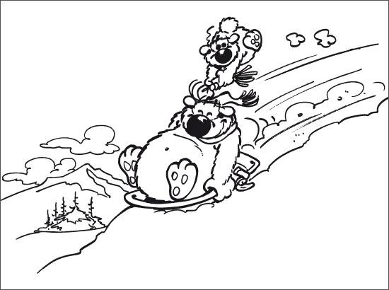 Coloriage Cubitus au ski