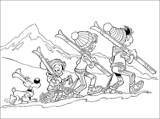 Coloriage La famille de Boule au ski