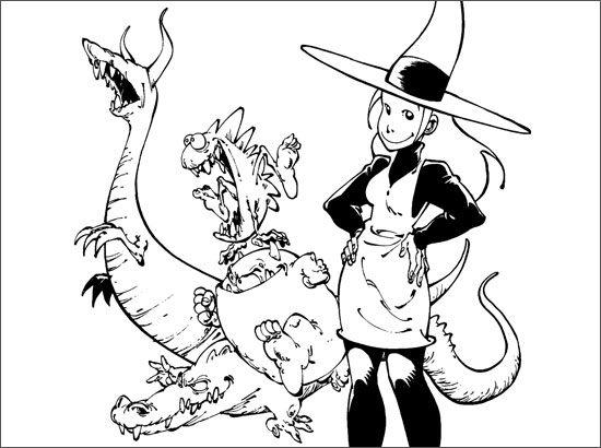 Coloriage Mélusine et dragons