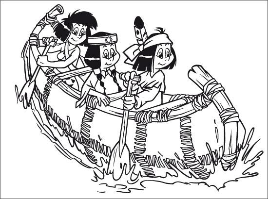 Coloriage Yakari et ses amis en canoë