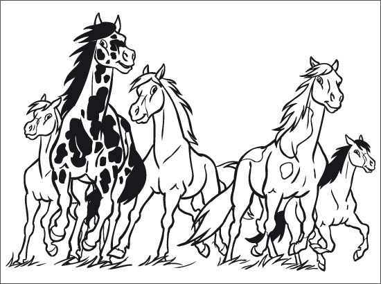 Coloriage chevaux sauvages - Coloriage chevaux ...