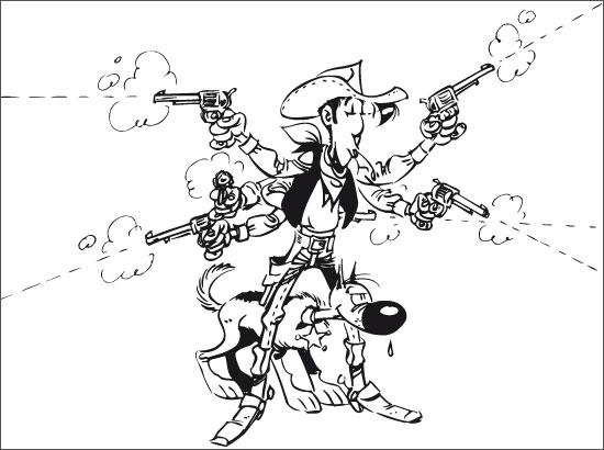 Coloriage Lucky Luke et Rantanplan