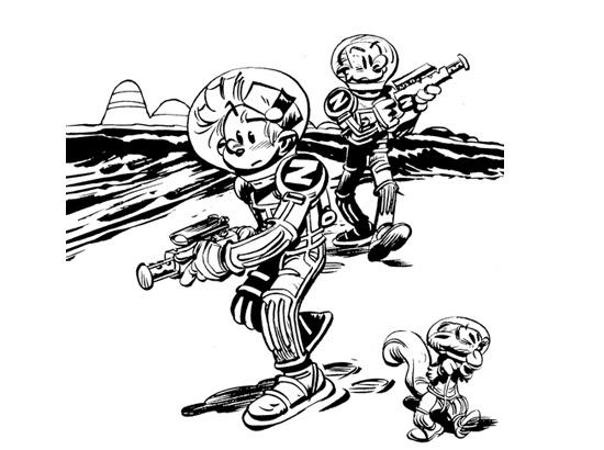 Coloriage Spirou et Fantasio sur la lune