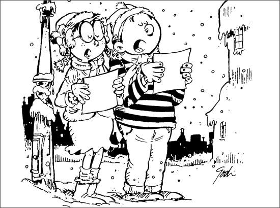 Coloriage Les petits chanteurs de Noël