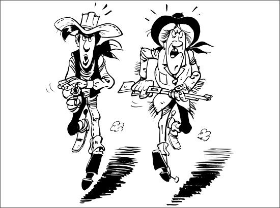 Coloriage Lucky Luke et Calamity Jane