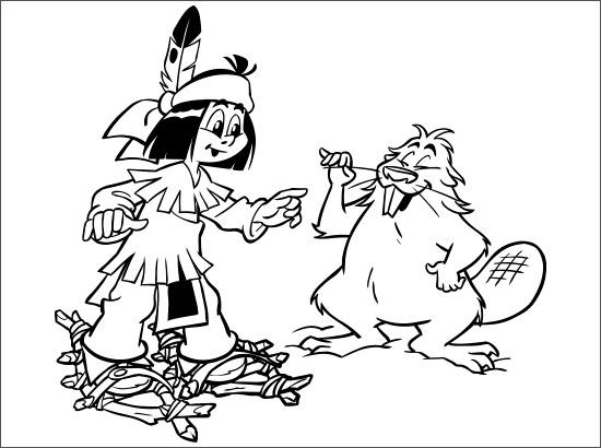 Coloriage Yakari et un castor