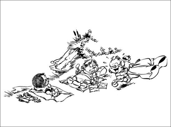 Coloriage Le petit Spirou et ses amis au bord du lac