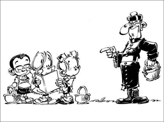 Coloriage Le petit Spirou, ses amis et Mr. le curé
