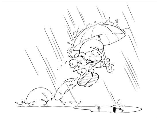 Coloriage Un Schtroumpf s'amuse sous la pluie