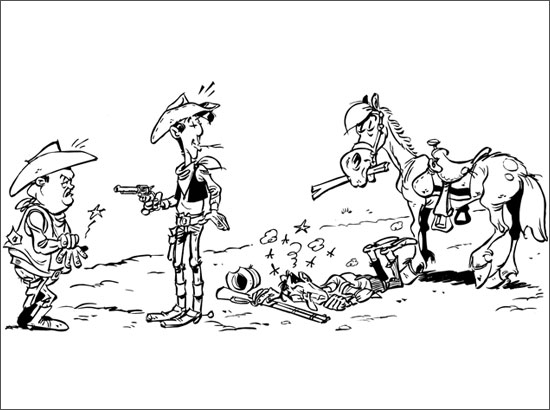Coloriage Lucky Luke, Jolly Jumper et des cowboys