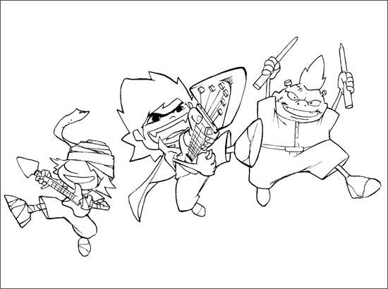 Coloriage Axel, Dino et Teddy