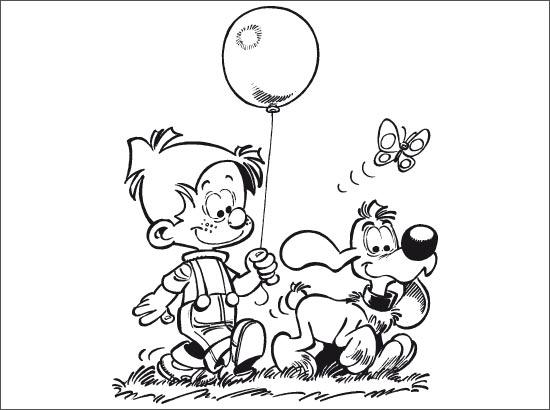 Coloriage Boule et Bill se promènent