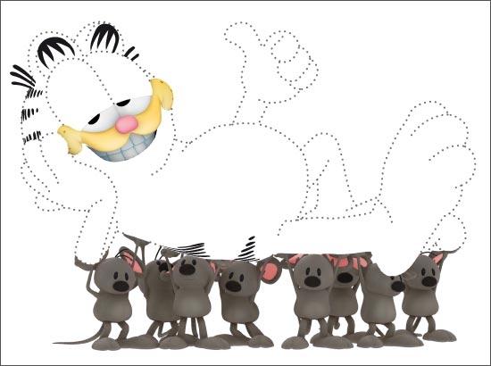 Coloriage Garfield et les souris
