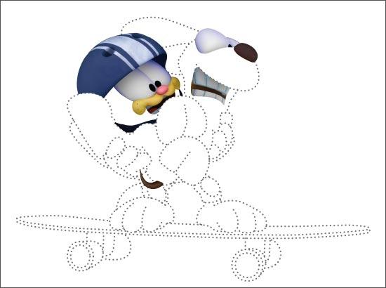 Coloriage Garfield et Odie en skateboard